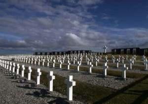Cementerio de guerra en Darwin, Malvinas.