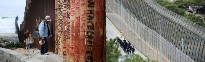 al norte: muro construido por Estados Unidos; al sur: muro construido por México