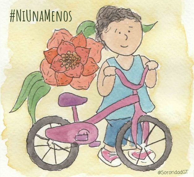 #niunamenos; ilustración de una niña feliz con su bicicleta