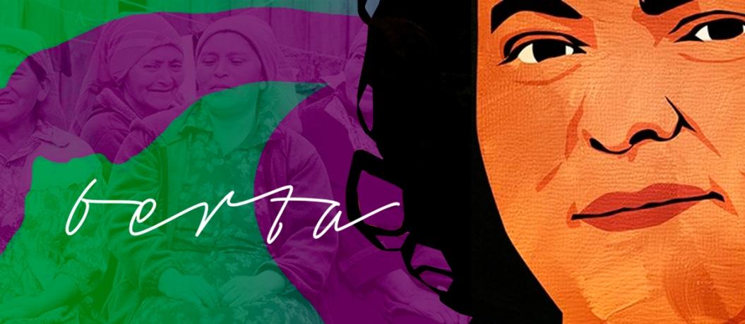 banner con ilustración del rostro sonriente de Berta, a su lado está su nombre en cursiva, y al fondo 4 mujeres campesinas de pañuelo.