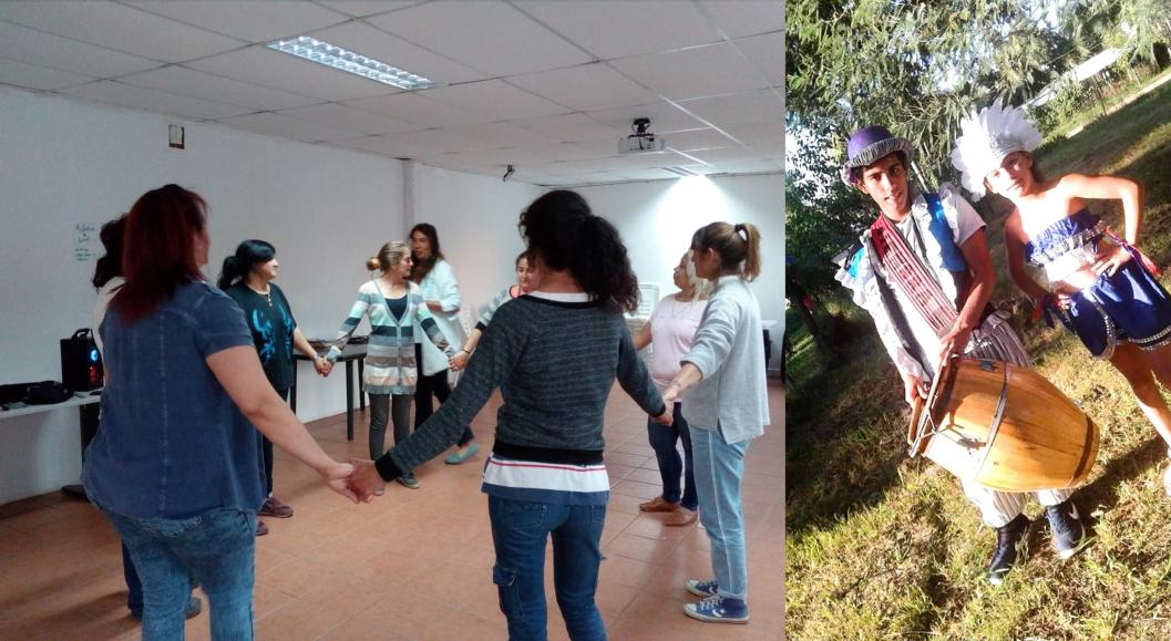 en la imagen de la izquierda, una ronda de mujeres tomadas de la mano. a la derecha, un joven tocando tambor y una muchacha con brazos en jarra. ambos en ropas de comparsa