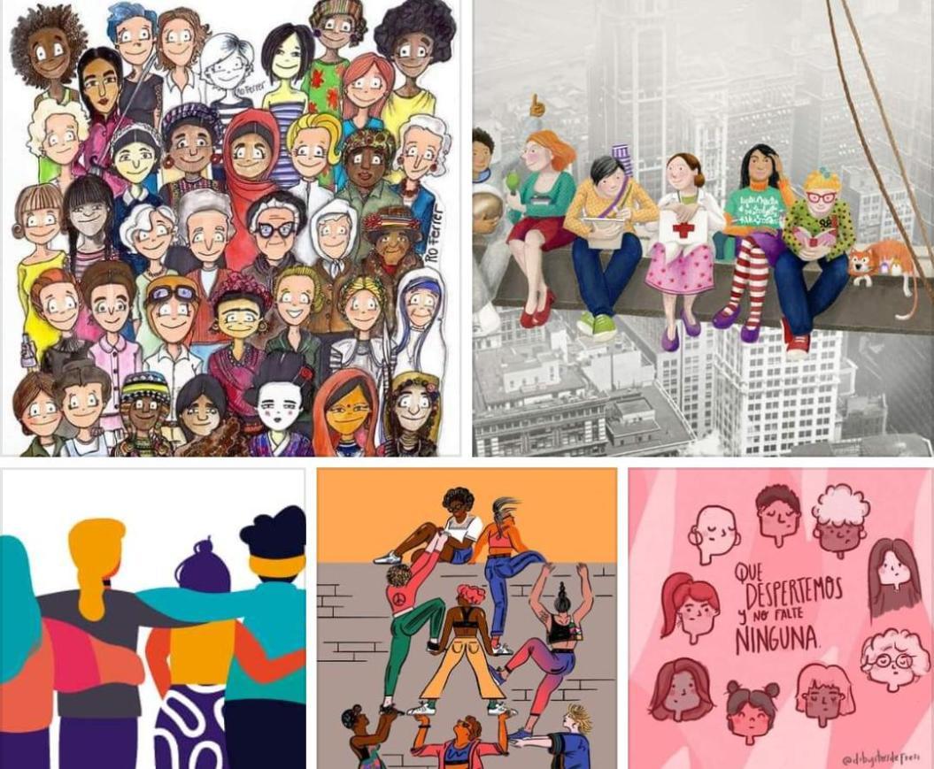 varias viñetas de mujeres representando la multidiversidad. al final se lee: que despertemos y no falte ninguna.