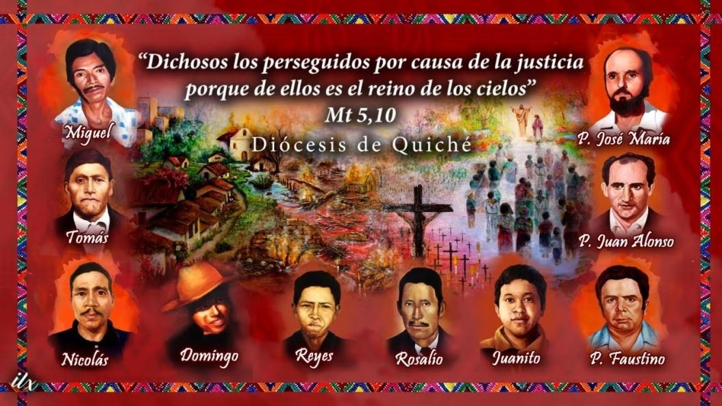 afiche con fotos y nombres de 10 mártires. al fondo paisaje guatemalteco, un cristo crucificado y texto evangélico Mateo 5,10