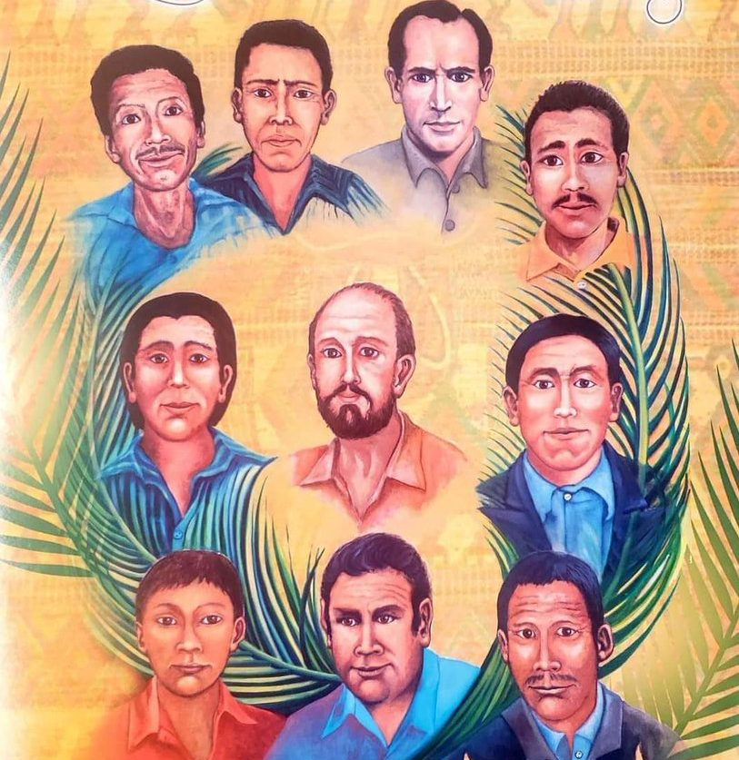 pintura con los rostros de los 10 martires. es de estilo centroamericano, fondo con guardas coloridas. los torsos de los martires flotan abrazados por hojas de palma.