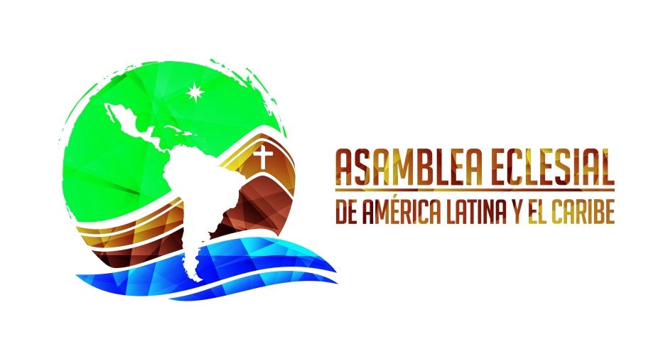 logotipo de la asamblea eclesial. el globo terraqueo es una barca, sobreimpreso el mapa de america latina