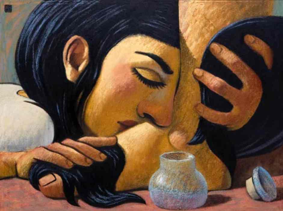 pintura con la mujer que unge los pies de Jesús. su rostro apoyado sobre el empeine y con sus largos cabellos envuelve el pie. está de ojos cerrados. a un costado se ve el frasco vacío