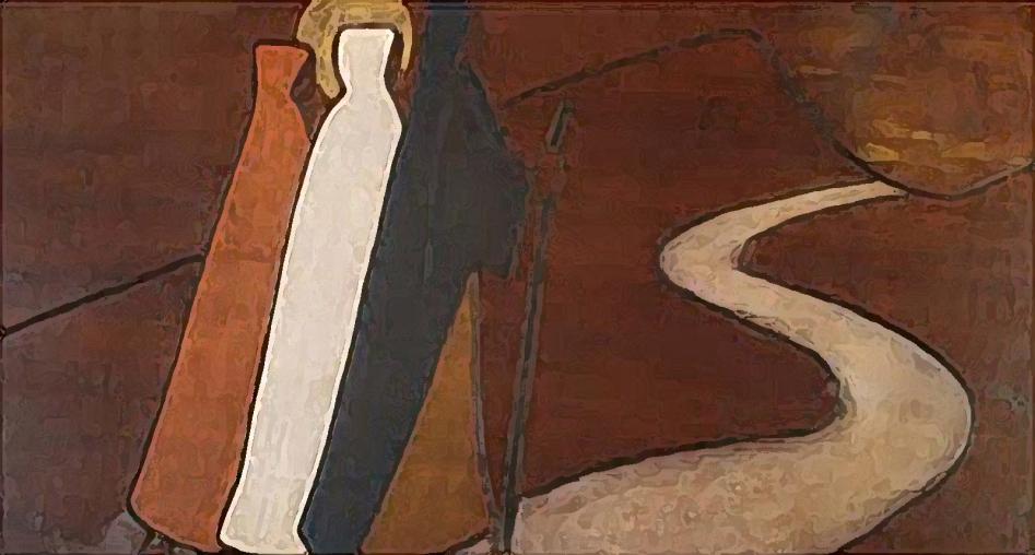ilustracion representando el camino de emaus, con las tres figuras caminando a la par