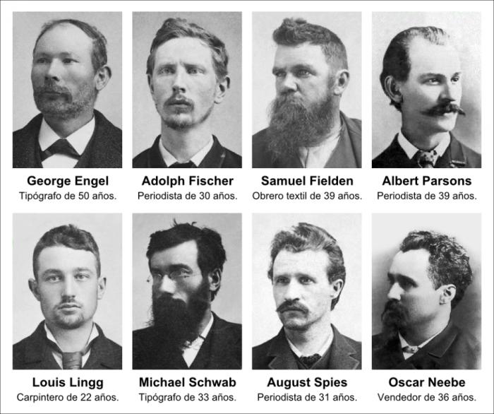 8 retratos de los martires de chicago, cada uno con su nombre, edad y profesion. van desde los 22 a los 50 años. todos llevan bigotes y la mayoria tambien barba. miran a lo lejos, con actitud idealista y gesto serio. visten saco, camisa y corbata