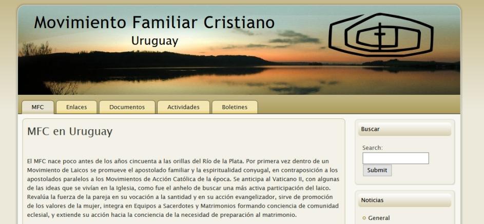 portada del sitio web del movimiento familiar cristiano en uruguay. hay un texto de presentacion y una foto de un amanecer frente a la costa de un lago