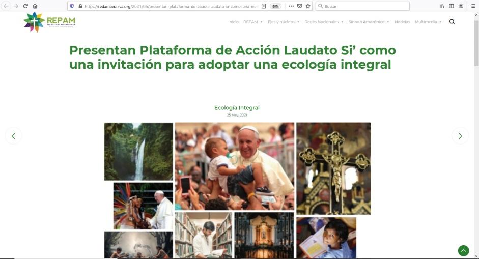 captura de pantalla del sitio web de la red eclesial panamazonica