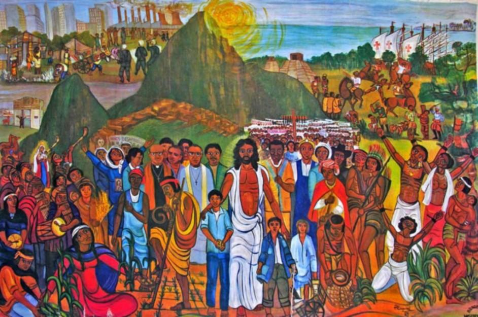 pintura representativa de la iglesia latinoamericana como pueblo de Dios. al centro está Cristo, y unos niños. están representadas todos los pueblos y todas las épocas. todo es muy colorido.
