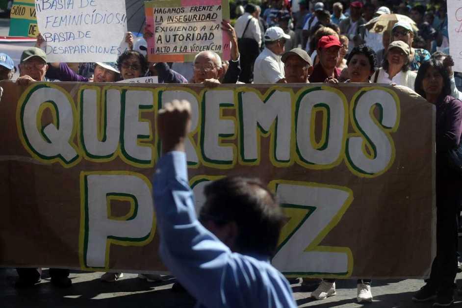 manifestantes mexicanos en la calle, sostienen un gran cartel que dice: queremos paz. al frente, un hombre levanta su puño izquierdo