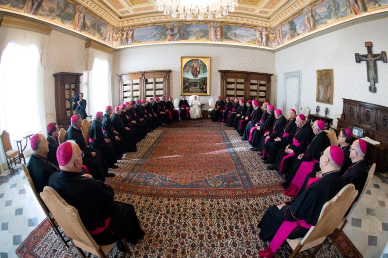 en un salon del vaticano, francisco al centro y unos 30 obispos estan sentados en u. la imagen esta tomada con una lente ojo de pez, que deja la imagen con una deformacion esferica.