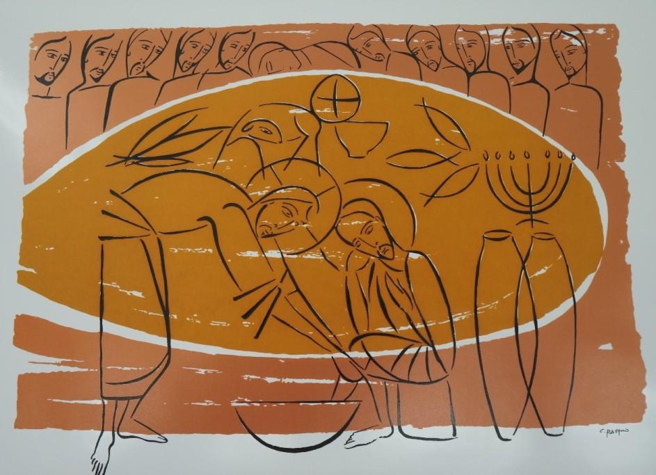 cuadro del artista brasilero claudio pastro, con escena del lavado de los pies