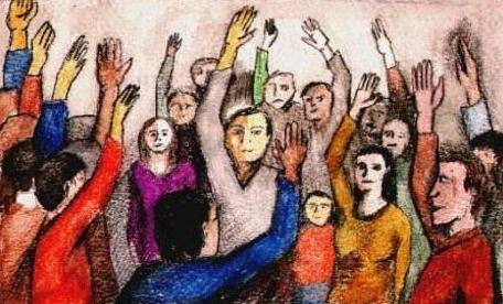 ilustracion que muestra varias personas reunidas, que levantan la mano como diciendo presente