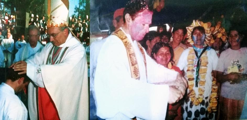composicion de dos fotos historicas: en la primera, el obispo impone las manos a nacho el dia de su ordenacion. en la segunda, el sacerdote en medio de una celebracion en bolivia.