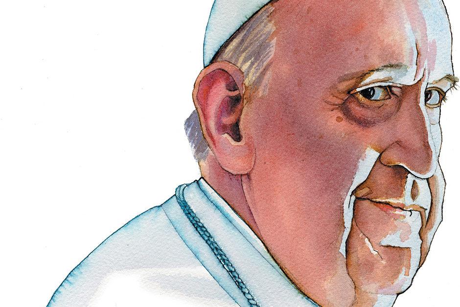 caricatura del papa francisco en colores. es un primerisimo plano, y sus facciones tienen un aire al papa juan 23. el rostro hacia un costado pero la mirada fija hacia el observador.