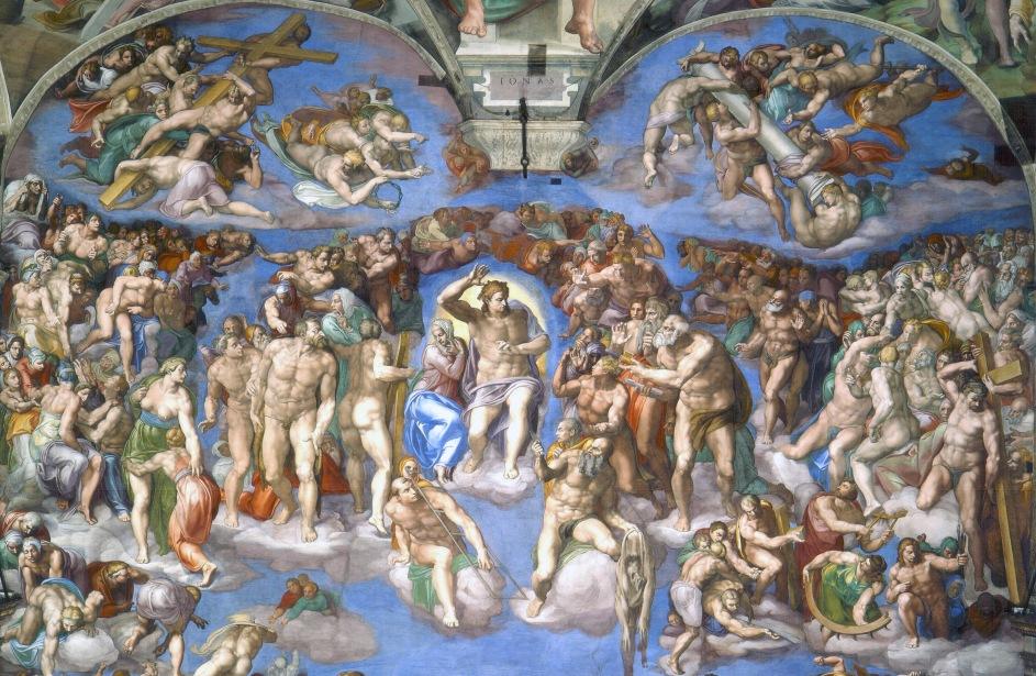 pintura el juicio final de miguel angel, en la capilla sixtina