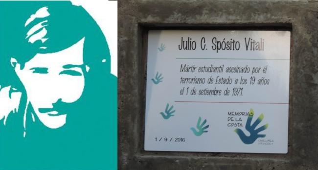 composicion con el rostro estilizado de julio y al costado, una placa en su nombre, en ciudad de la costa, canelones, uruguay