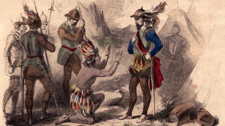 ilustracion de un indio americano arrodillado frente a un militar europeo. cuatro soldados estan cerca pero bastante indiferentes a la escena.