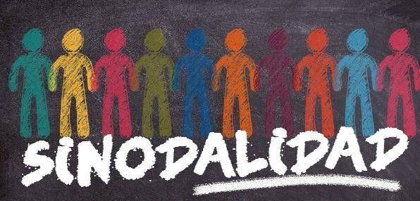 un pizarron con la palabra sinodalidad. 10 figuras representando contornos humanos, de diferentes colores, estan detras de la palabra.