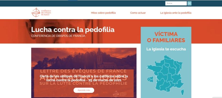 portada del sitio especifico contra abusos, de la conferencia episcopal francesa