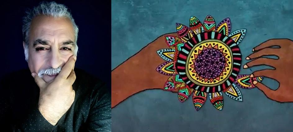 retrato del entrevistado, que mira a camara con su mano sosteniento la barbilla, a su lado una ilustracion simbolica de dos manos deshojando una margarita, que es como un mandala