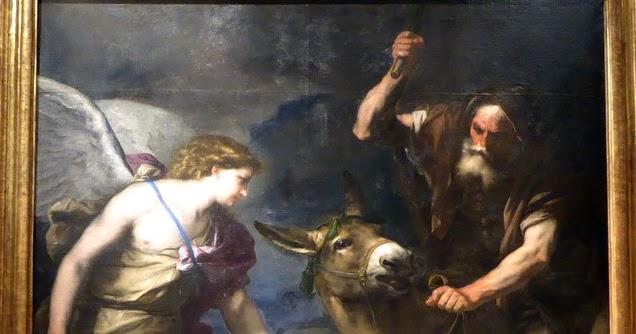 detalle de la pintura del napolitano luca giordano, que muestra al angel, al mago y a la burra